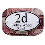 250×140mm Oval Customized Transparent Acrylic House Signs Door Plates Plaques Door Number/Street Name Signs with Vinyl Paper Films (White Background and Black Font)
