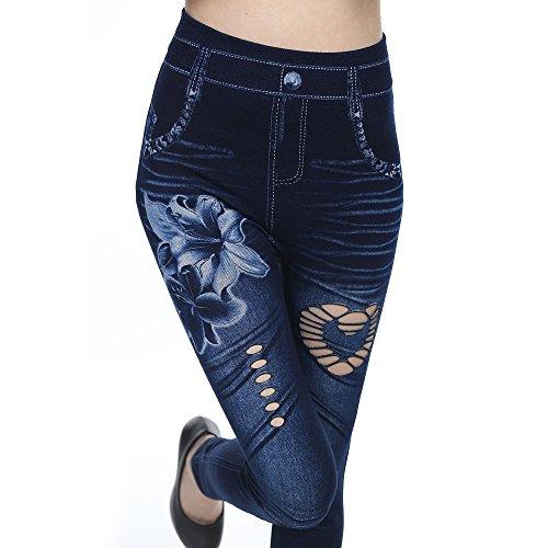 Pants Slim Fit Bleu Fonc Dihope Taille Skinny en Casual Pantalon Stretch Denim Haute Jeans Femme qwwHxBg