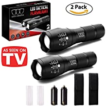 LED Tactical Flashlight A1000 [2 PACK] - High Lumen, Zoomable, 5 Modes, Water Resistant, Handheld Light - Best Camping, Outdoor, Emergency, Everyday Flashlights
