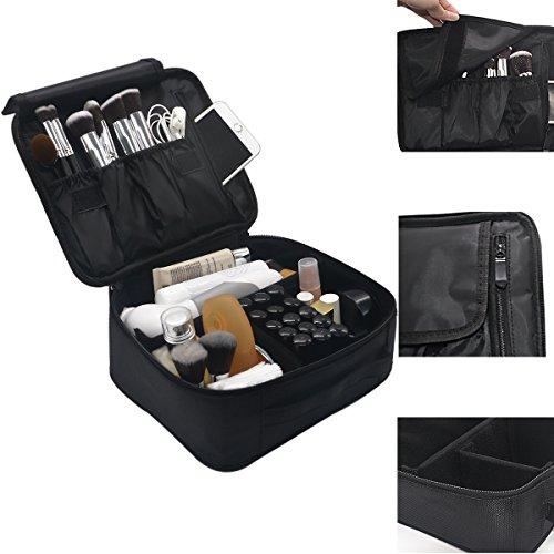 Price comparison product image Lmeison Premium Waterproof Portable Velcro Travel makeup bag / Makeup Brush Sets / Cosmetic Artist Organizer Kit for Women Makeup or Men Shaving Kit for vacation-Black