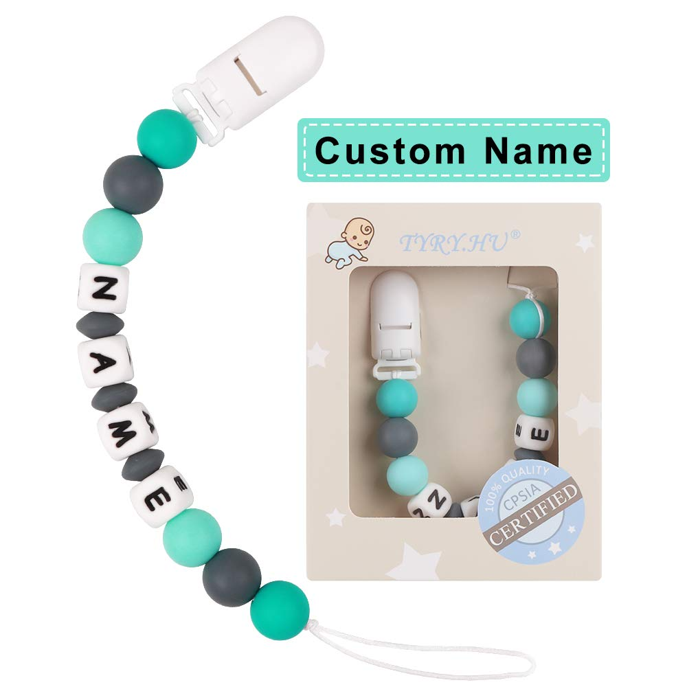 Grey Bear TYRY.HU Personalized Dummy Clip Baby Silicone Teethers Pacifier Clips Soother Chain Holders Teething Toys Chewable Beads Handmade Shower Gift