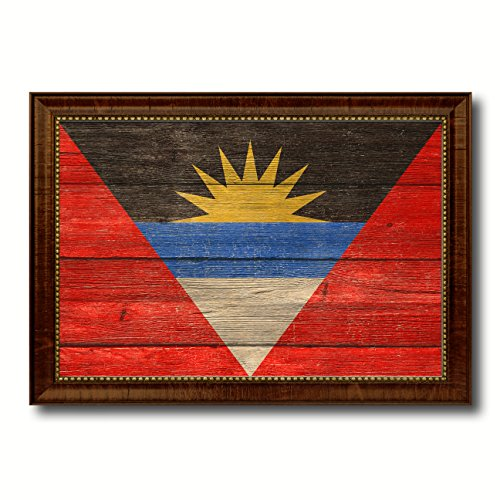 Antigua Barbuda Country Flag Texture Canvas Print, Brown Gold Picture Frame Home Decor Wall Art Decoration Gifts