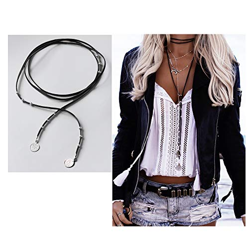 - Retro Long Yarn Coins Double Pendant Sweater Chain Necklace,Multi-storey Knotted Leather Necklace for Women Girls Fashion Gifts (Black)