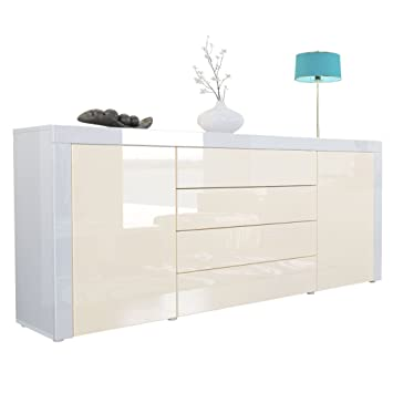 Vladon Sideboard Chest Drawers La Paz Carcass In White High Gloss