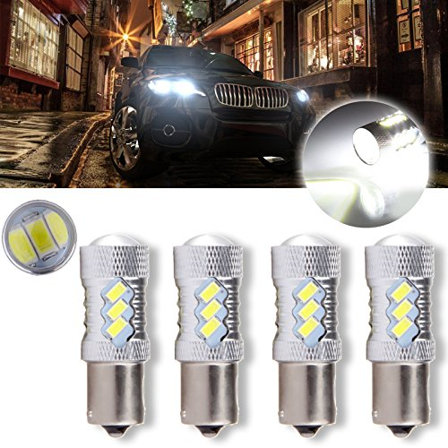 cciyu 1156 BA15S 60W Cree LED 15 5730 SMD Bulb Replacement fit for Reverse Backup Light,4 Pack Xenon White ()