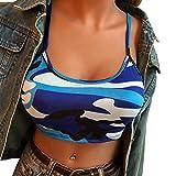 Pafei Womens Blouse Fashion Women Basic Camouflage Bustier Bra Vest Short Length Strap Off Shoulder Tank Elastic Boob Bandeau Tops (Blue, S)