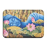 1 Piece Smart Dry Memory Foam Bath Kitchen Mat For Bathroom - Spa Decor Asian Buddha Lotus Zen Shower Spa Rug 18X36 Door Mats Home Decor With Non Slip Backing - 3 Sizes