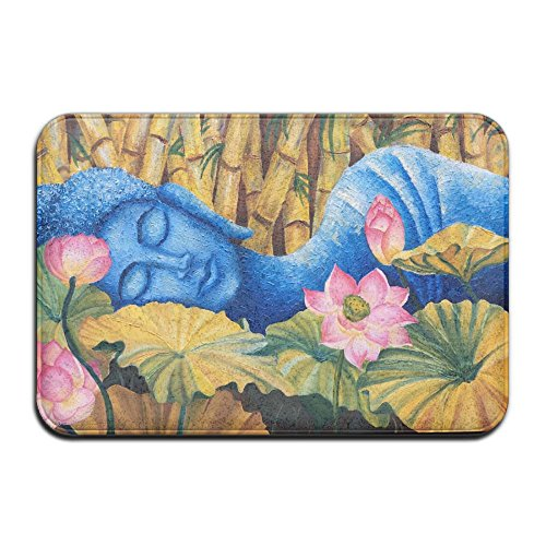 1 Piece Smart Dry Memory Foam Bath Kitchen Mat For Bathroom - Spa Decor Asian Buddha Lotus Zen Shower Spa Rug 18X36 Door Mats Home Decor With Non Slip Backing - 3 Sizes by BesArts
