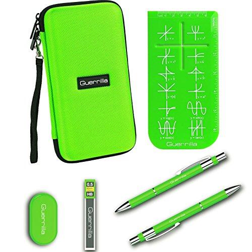 Guerrilla Hard Travel Case for All Models of Graphing Calculators + Guerrillas Essential Calculator Accessory Kit. Green Color.