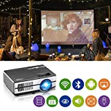 Mini Projector WiFi Bluetooth Portable LCD Video Projector 1500 Lumen Wireless HDMI 1080P Multimedia Home Theater Outdoor Movie Video Games with USB VGA 3.5mm Audio jack, Built-in Speaker, Keystone