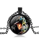Michael Jackson Commemorates Time Gem Black Chain Necklace Pendant with 50cm Chain for Men Women