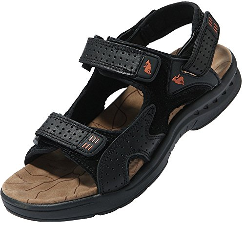Bininbox Mens Sandaler Tofflor Äkta Läder Sommaren Utomhus Fritidsskor Svart