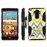 LG G Stylo LS770 H631 Phone Cover, Chevron French Horn- Blitz Hybrid Armor Phone Case for [LG G Stylo LS770 H631] with [Kickstand and Holster] by Mobiflare
