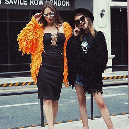 Automne Fourrure Casual Manteau Tricot Fourrure Femmes Hiver Hiver longue en Chic Imitation Fausse Orange vetements Synthetique Cardigan Gland Automne Fourrure VLUNT nPB1OZq