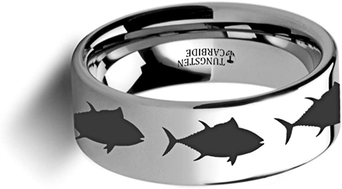 Thorsten Wildlife Sport Fishing Tuna Fish Print Pattern Ring Flat Polished Tungsten Ring 6mm Wide Wedding Band from Roy Rose Jewelry