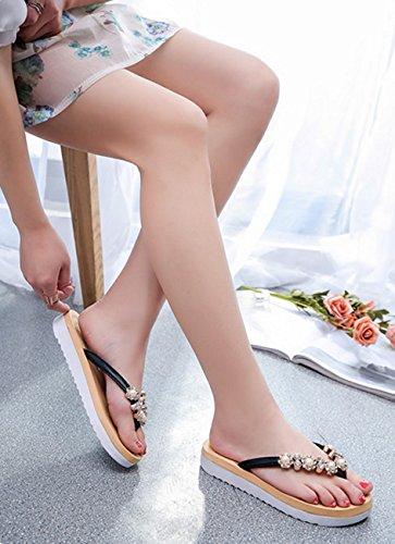 sandali nero Block Primavera Comfort Black argento tessuto con casual Estate PU Abito Sandali F0qYvwaq