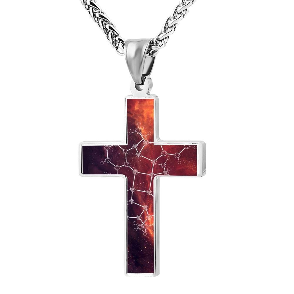LUQeo Chemistry Crucifix Necklace Christ Pendant Polished God Jewelry