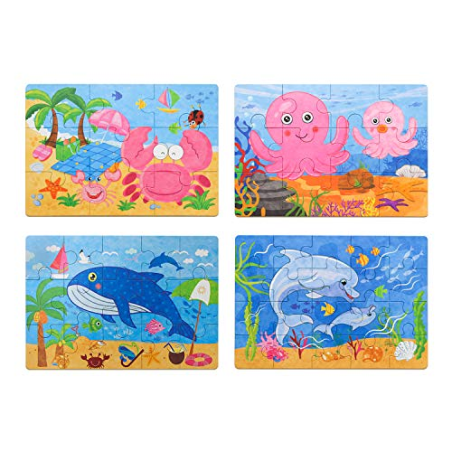 (zoordo Kids Puzzles Toys for 2-4 Ages, 4-in-1 Jigsaw Wooden Puzzles Games Set Ocean Style with Storage Box for Kids (56 pcs))