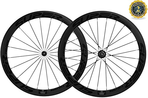 Superteam 50mm Clincher Wheelset 700c 23mm Width Cycling Racing Road Carbon Wheel Decal (Black Decal)