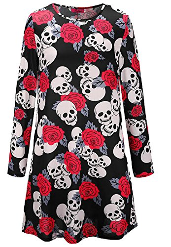 Long Dress Sleeve Halloween Top Casual 10 T Crewneck Women's Domple Print Shirt 1vwtqBW