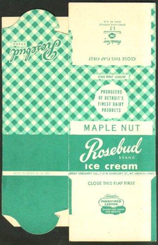 Rosebud Maple Nut Ice Cream pint box unused 1940s