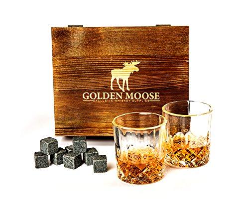 Golden Moose Whiskey Stones Gift Set – 2 Whiskey Glasses (220ml), 8 Exclusive Whiskey Rocks & Velvet Bag + Tongs in a Elegant Wooden Gift Box by Golden Moose (Image #6)