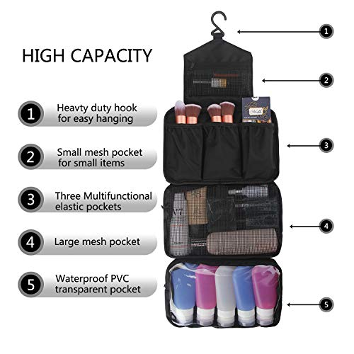 MONSTINA Toiletry Bag/Cosmetic Case Toiletry Travel Bags Hanging Cosmetic Pouch Cosmetic Organizers (Black)