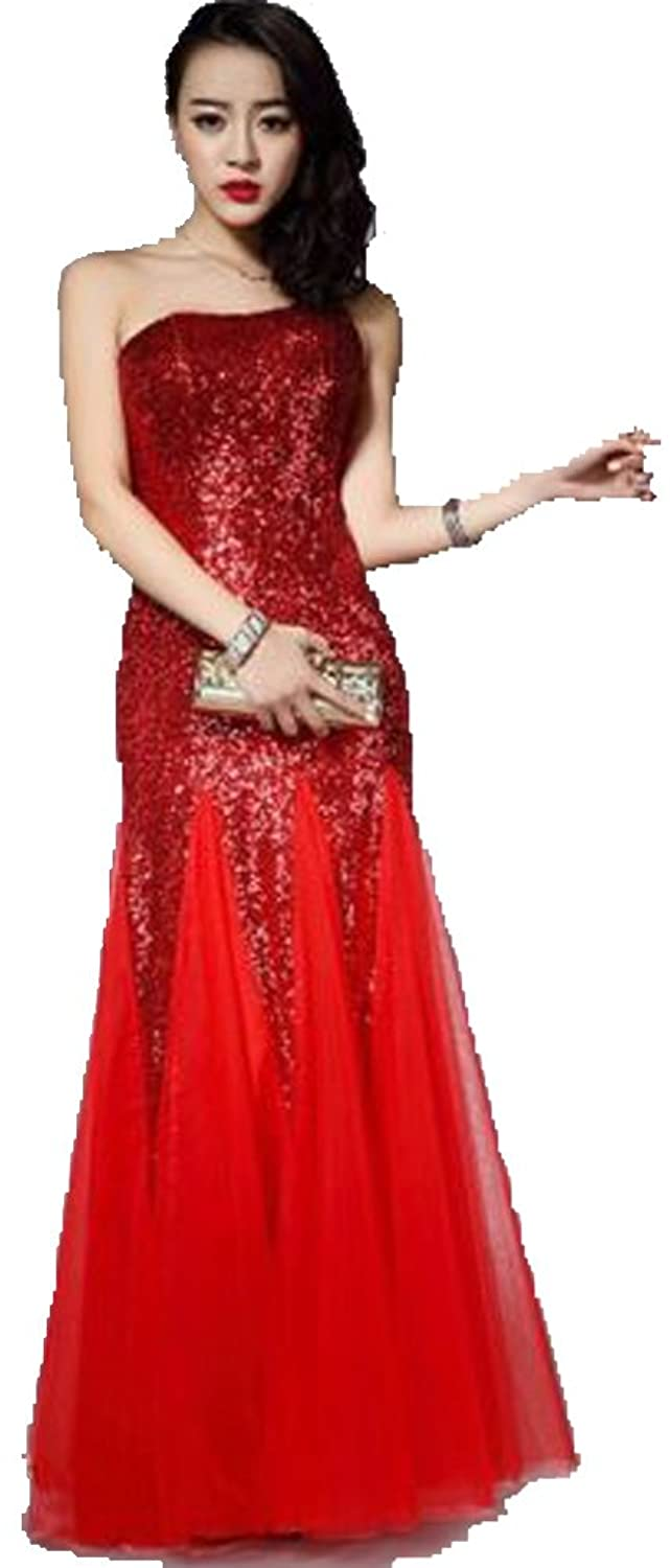 Sexy One Shoulder Sequin Tulle Long Prom Dress Evening Party Gowns