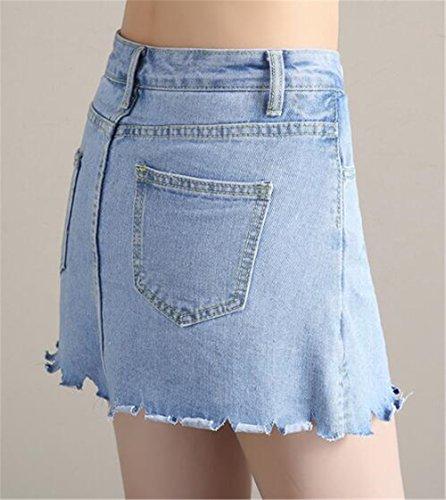 Blue Femelle t Court Slim Fit Skirt A Mini Loose Femme en Hipster Aoliait Jupe Universite Jupe Line Jupe Jupe Jupe Jean en tx1qPwaU