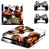 FreeSticker PS4 Designer Skin Game Console System plus 2 Controller Decal Vinyl Protective Covers Stickers for Sony PlayStation 4 Super Ultra Street Fighter V (Ken Masters and Ryu)