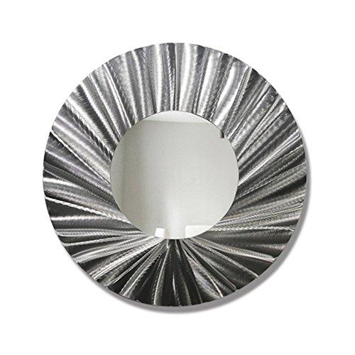 Statements2000 Round Decorative Metal Wall Mounted Mirror by Jon Allen, Silver, 23