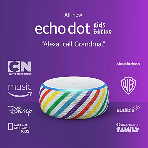 Echo Dot Kids Edition, an Echo designed for kids, with parental controls and 2 year worry-free guarantee, Rainbow