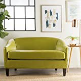 Isolde Modern Petite Loveseat (Fabric or Leather) (Green Leather)