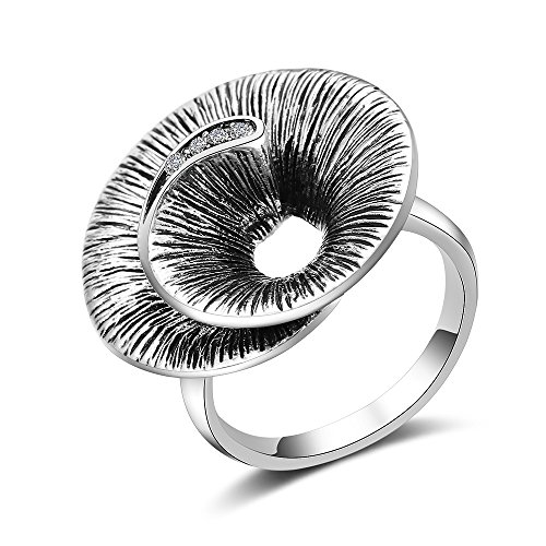 Mytys Vintage Round Wave Silver Oxide Wide Rings Antique Cocktail Finger Ring for Women Size 6