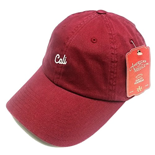 American Needle Board Shorts Cali Script Burgundy Cotton Baseball Cap Strapback Hat American Needle Embroidered Cap