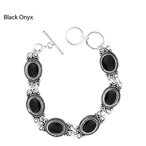 925 Silver Plated 18.15ct, Genuine Black Onyx Bracelet
