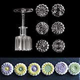 Transparent Mooncake Mold 6 Flower Stamps Kitchen DIY Baking Pastry Round Moon Cake Mould Tools Cookies Press Plunger Bakeware Katoot