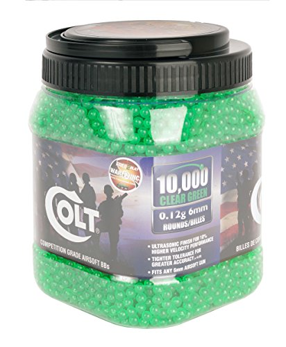(Colt Ultrasonic Competition Grade Airsoft-BBS (10000 Count), Green, 12g)