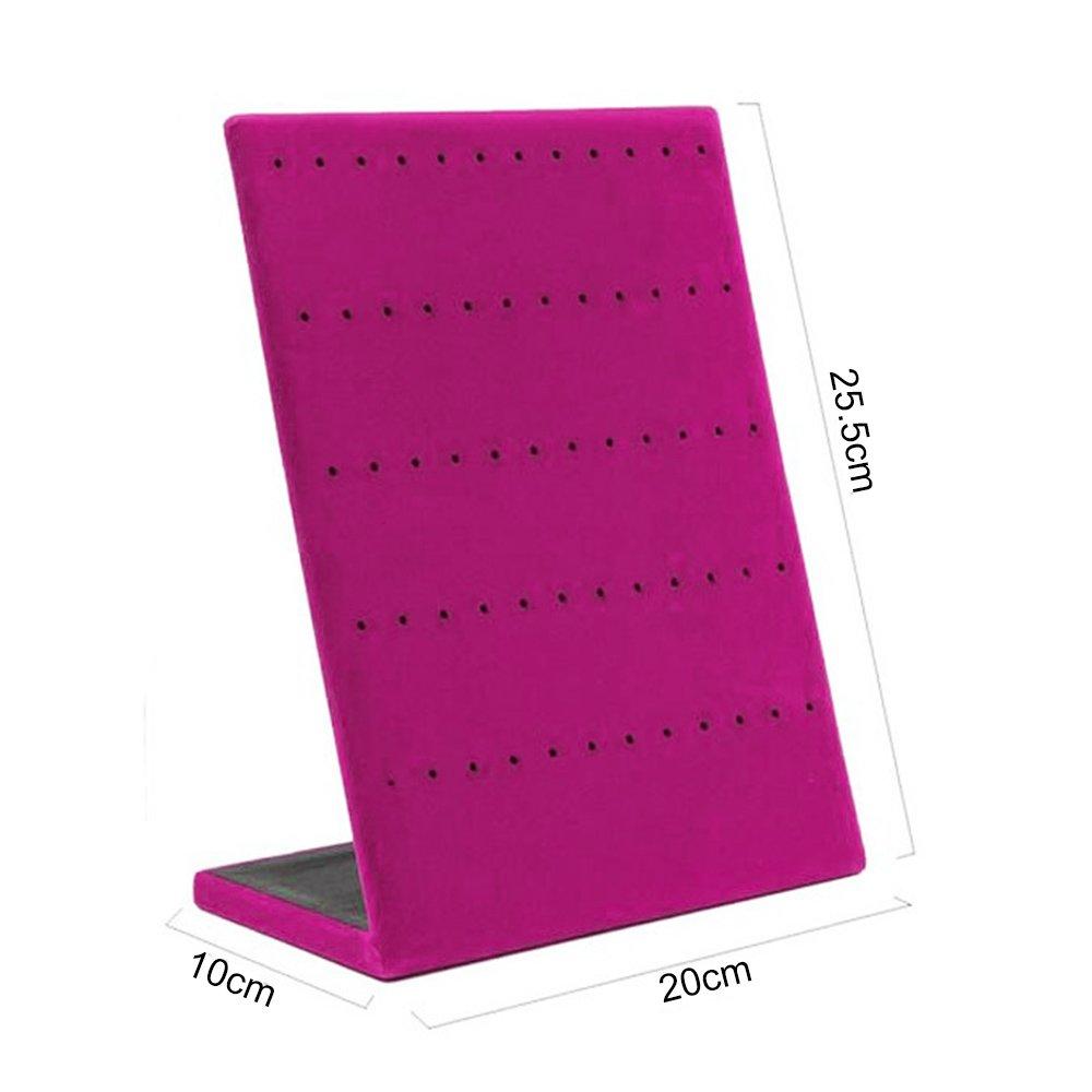 Gogogo L Form Ohrring St/änder Halter mit 60 L/öchern Samt Ohrschmuck Anzeige Rack Grau