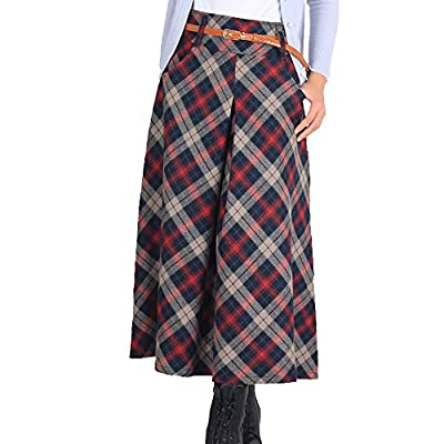LISASTOR Women Warm Pleated Plaid Flare Skirt A Line High Waist Wool Skirt With Pockets