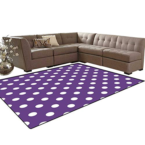 Eggplant Anti-Skid Area Rugs Polish White Orderly Polka Dots and Purple Background with Traditional Pattern Customize Door mats for Home Mat 6'x8' Purple White