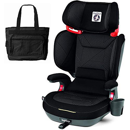 Peg Perego 2-in-1 Viaggio Shuttle Plus 120 Booster Car Seat with Bonus Diaper Bag - Graphite