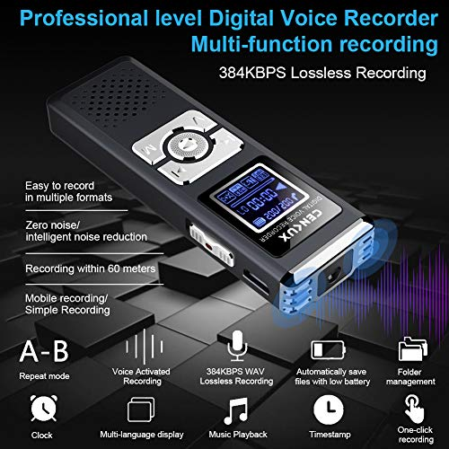 Digital Voice Recorder,CENLUX 8G Double Microphone Noise Reduction Audio  Voice Activated Recorder,Portable Sound Recorder MP3 Player for