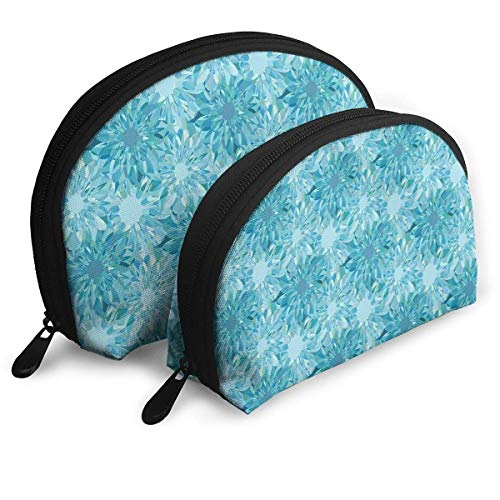 (2pcs Floral Pattern with Beryl Crystal Guilloche Flowers Carving Cosmetic Bag Travel Makeup Pouch Bag Portable Shell Makeup Bag Clutch Toiletry Pouch with Zipper)