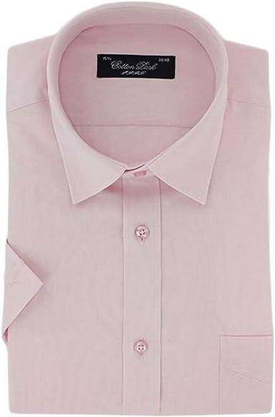 Cotton Park - Camisa de Vestir - Recta - Manga Corta - para Hombre Rosa Rosa: Amazon.es: Ropa y accesorios