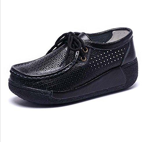 Zapatos atléticos para Mujer Cómodas Zapatillas Respirables Plat Entrenadores Negro/Rojo/Blanco/Amarillo Talla 35-41 Negro