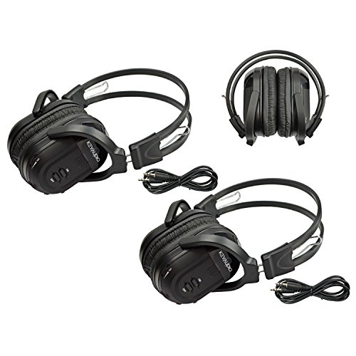 l Folding Universal Rear Entertainment System Infrared Headphones Wireless IR DVD Player Head Phones for in Car TV Video Audio Listening ()