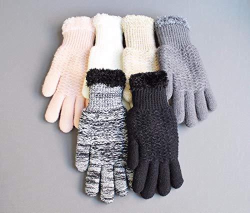 Black lined gloves faux fur knit stretch gloves winter super warm ladies by RIX Women's Luxury (Image #3)