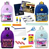 17'' Wholesale Backpacks in 4 Assorted Prints with 24 Piece School Supply Kit - Bulk Case of 12 Each