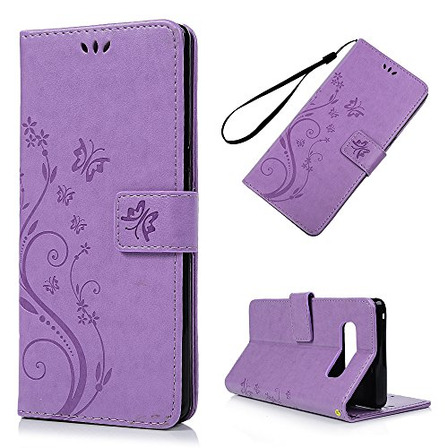 Galaxy Note 8 Case, YOKIRIN Flip Wallet Full PU Leather Kickstand Emboss Floral Butterfly Magnetic Book Style Built-in Stand Card Slots Holder Protective Cover with Detachable Wrist Strap, Purple